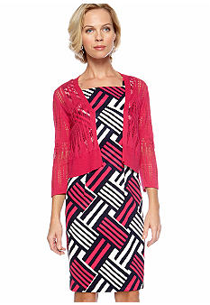 Kim Rogers Printed Sheath Dress with Topper