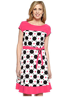 Kim Rogers Cap-Sleeved Printed Framed Dress