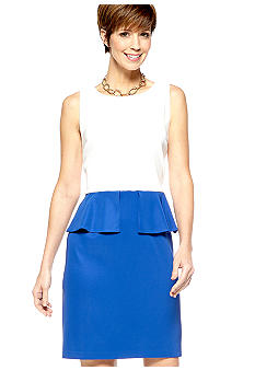 Kim Rogers Sleeveless Two-Tone Peplum sheath Dress