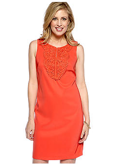 Kim Rogers Sleeveless Sheath Dress with Embroidery Bodice
