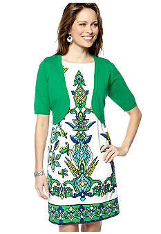 Kim Rogers Elbow Sleeved Sweater with Printed Sheath Dress