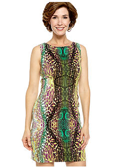 Kim Rogers Sleeveless Printed Sheath Dress