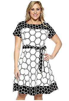 Kim Rogers Plus Size Cap Sleeved Dress
