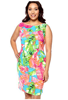 Kim Rogers Plus Size Sleeveless Printed Sheath Dress