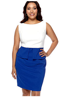 Kim Rogers Plus Size Sleeveless Peplum Sheath Dress