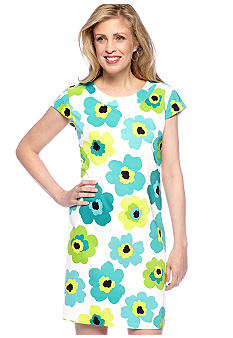 Kim Rogers Plus Size Cap-Sleeved Printed Dress