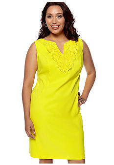Kim Rogers Plus Size Sleeveless Sheath Dress with Crochet Trim