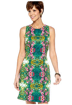 Kim Rogers Plus Size Sleeveless Floral Printed Sheath Dress