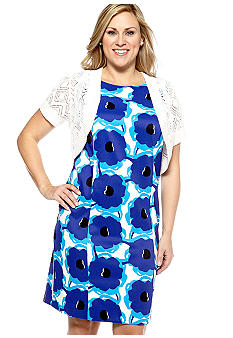 Kim Rogers Plus Size Printed Sweater Dress