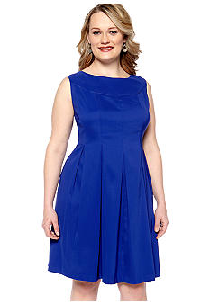 Kim Rogers Plus Size Sleeveless Pleated Dress