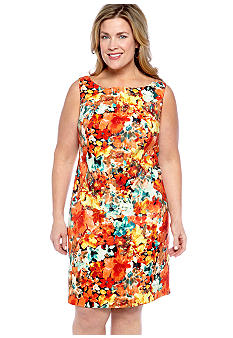 Kim Rogers Plus Size Sleeveless Floral Sheath Dress