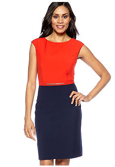 Ellen Tracy Dresses Cap-Sleeved Sheath Dress