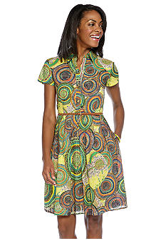 Ellen Tracy Dresses Short-Sleeved Printed Belted Shirtdress