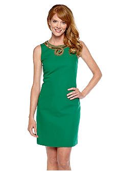 Ellen Tracy Dresses Sleeveless Shift Dress with Beaded Neckline
