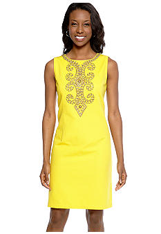 Ellen Tracy Dresses Sleeveless Shift Dress with Beaded Detail