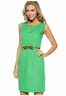 Ellen Tracy Dresses Sleeveless Fit and Flare Belted Dress
