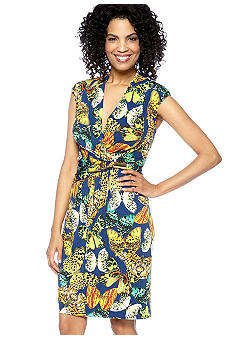 Ellen Tracy Dresses Cap-Sleeved Crossover V-Neck Printed Sheath Dress