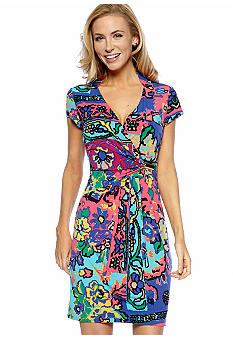 Ellen Tracy Dresses Cap-Sleeved Crossover V-Neck Printed Dress