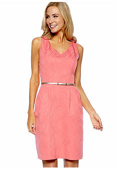 Ellen Tracy Dresses Sleeveless Jacquard V-Neck Dress