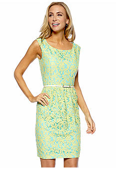 Ellen Tracy Dresses Sleeveless Allover Lace Dress