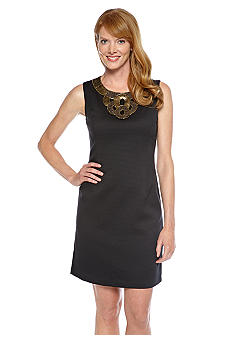 Ellen Tracy Dresses Sleeveless Basket Weave Dress