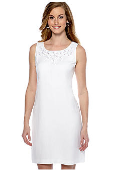 New Directions Sleeveless Shift Dress with Embroidery