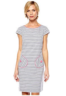 Jessica Howard Cap-Sleeved Stripe Shift Dress