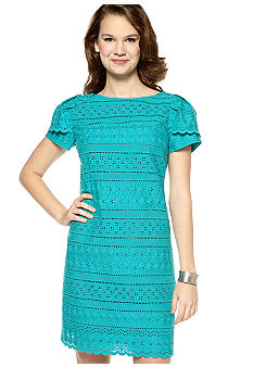 Jessica Howard Short Sleeve Eyelet Shift