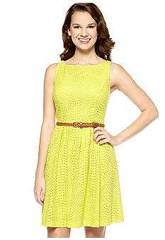New Directions Sleeveless A-Line Eyelet Belted Dress