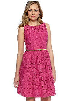 New Directions Sleeveless Allover Lace Dress