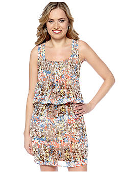 New Directions Racer Back Printed Blouson Dress