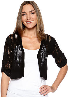 New Directions Three-Quarter Sleeved Shrug