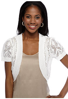 New Directions Short-Sleeved Crochet Shrug