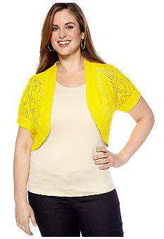 New Directions Plus Size Short-Sleeved Crochet Shrug