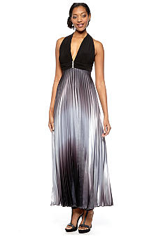 Betsy & Adam Halter Pleated Satin Gown