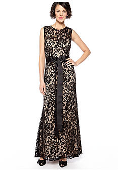 Betsy & Adam Sleeveless Allover Lace Gown