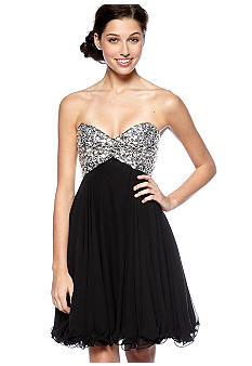 Betsy & Adam Strapless Dress with Lace Up Back