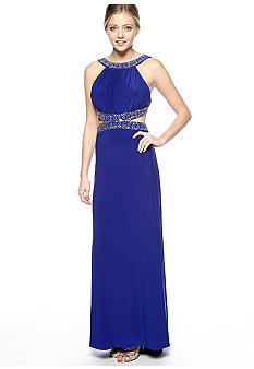 Betsy & Adam Halter Beaded Jersey Gown