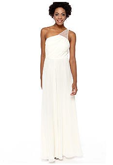 Betsy & Adam One Shoulder with Sequin Lattice Back Gown