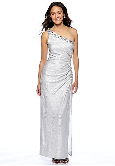 Betsy & Adam One Shoulder Gown with Rhinestone Detail