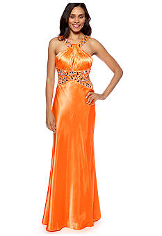 Betsy & Adam Halter Gown with Beaded Detail