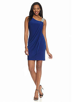 Betsy & Adam Beaded Shoulder Jersey Dress