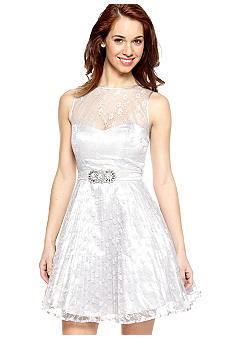 Betsy & Adam Sleeveless Lace Fit and Flare Dress