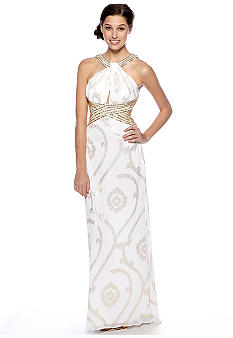 Betsy & Adam Halter Jersey Gown with Beads and Sequins