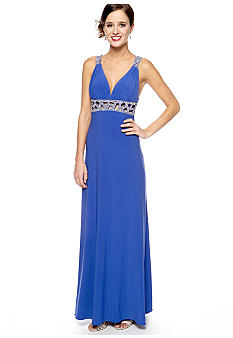 Betsy & Adam Sequins Strap Gown with Lattice and Sequins Back