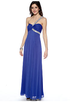 Betsy & Adam One Shoulder Beaded Gown