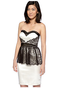 Betsy & Adam Strapless Peplum Sheath Dress with Lace Trim