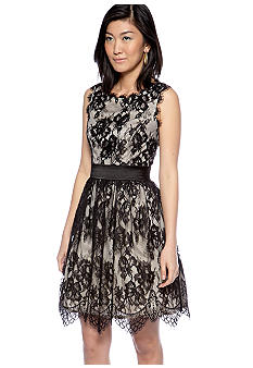 Betsy & Adam Sleeveless Allover Lace and Sequin Fit and Flare Dress