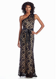 Betsy & Adam One Shoulder Lace Gown with Ribbon Sash