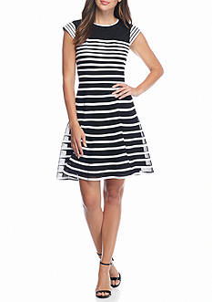 Betsy & Adam Striped Fit and Flare Dress